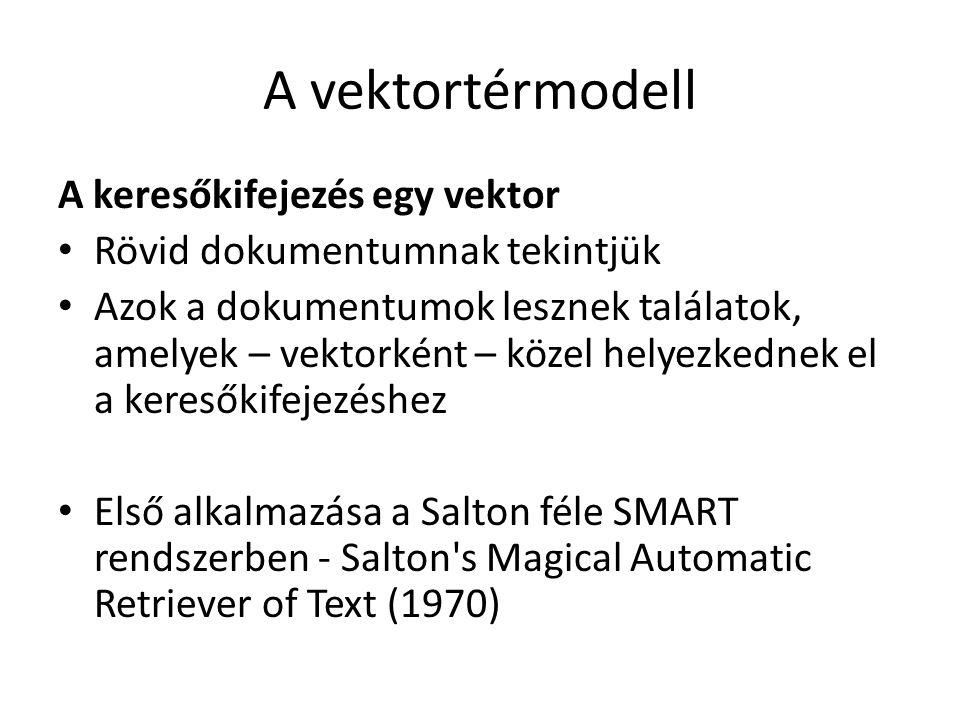 A vektortérmodell A keresőkifejezés egy vektor