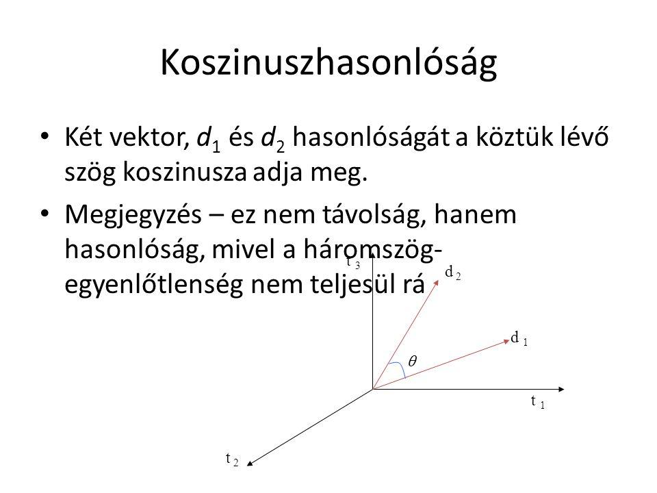 Koszinuszhasonlóság Két vektor, d1 és d2 hasonlóságát a köztük lévő szög koszinusza adja meg.