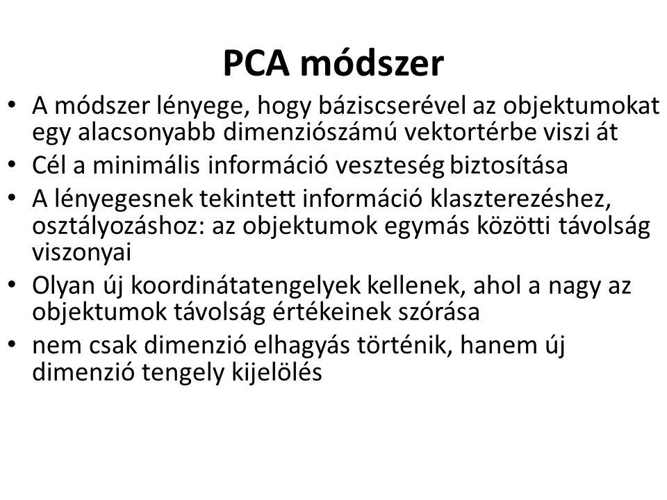 PCA módszer A módszer lényege, hogy báziscserével az objektumokat egy alacsonyabb dimenziószámú vektortérbe viszi át.