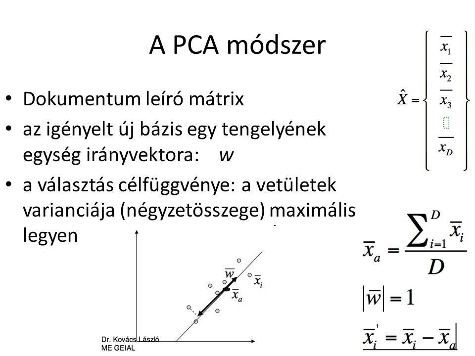 A PCA módszer Dokumentum leíró mátrix
