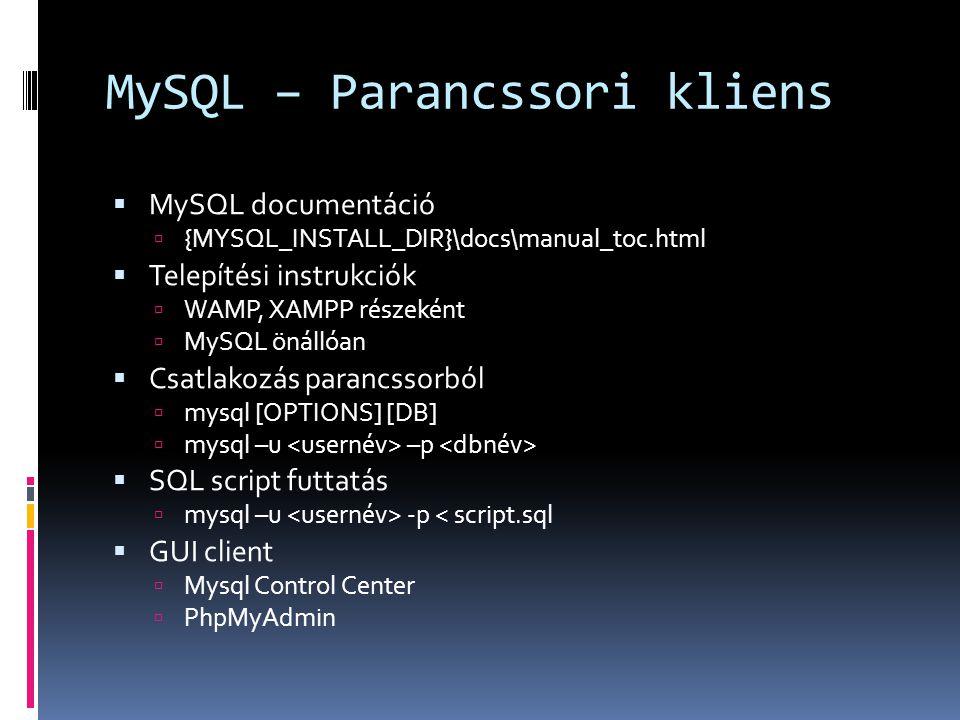 MySQL – Parancssori kliens