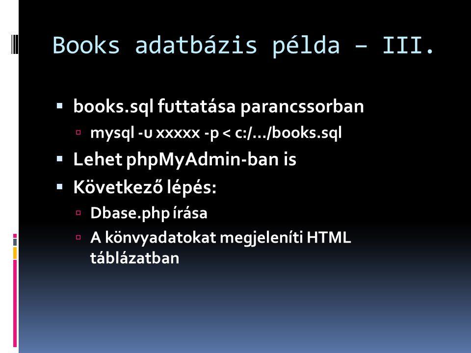 Books adatbázis példa – III.