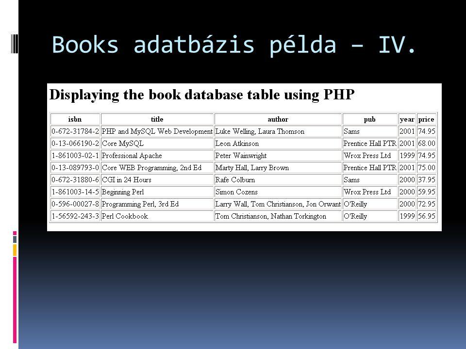Books adatbázis példa – IV.