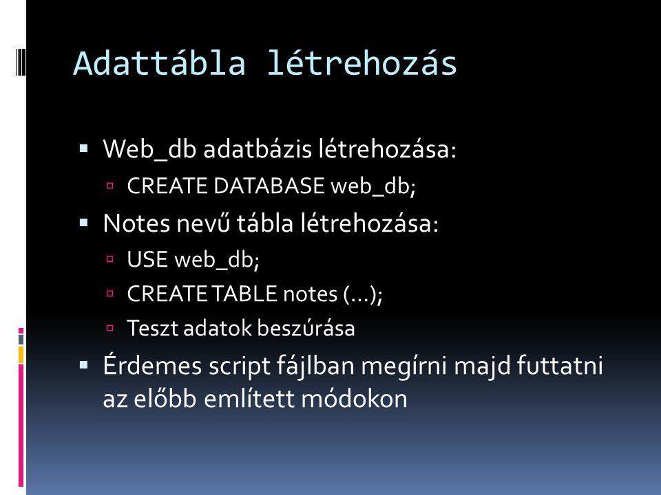 Adattábla létrehozás Web_db adatbázis létrehozása: