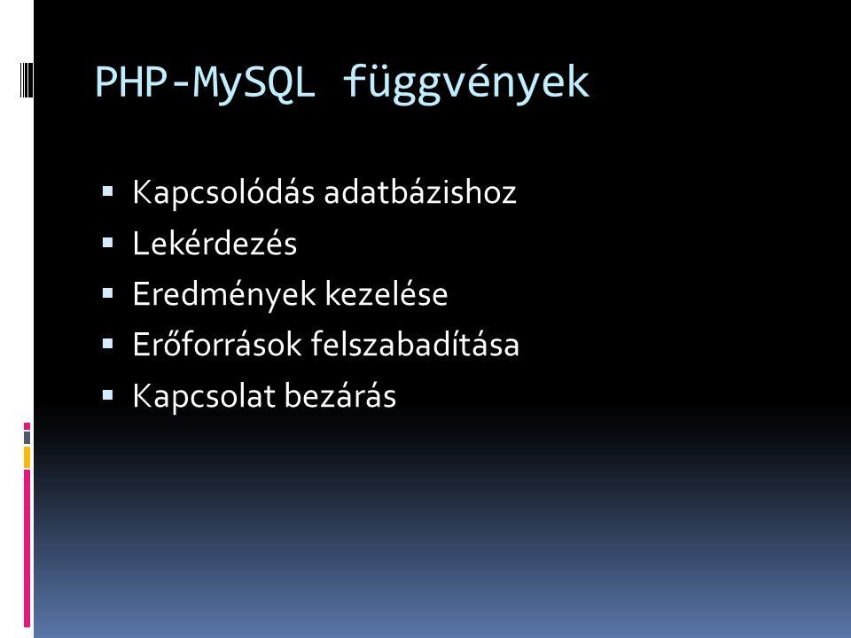 PHP-MySQL függvények Kapcsolódás adatbázishoz Lekérdezés