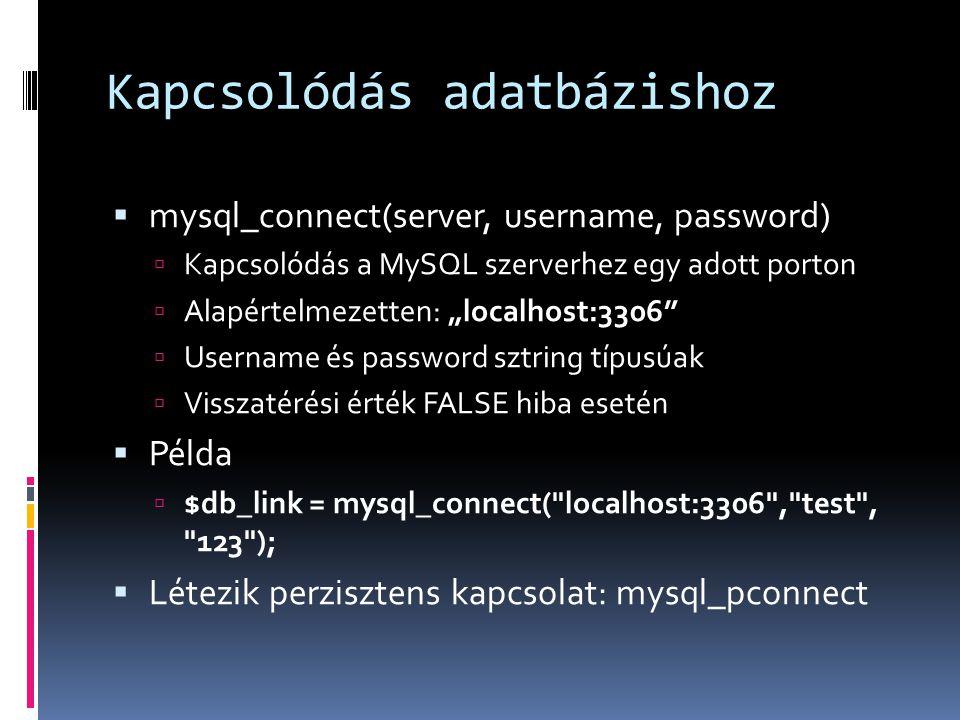 Kapcsolódás adatbázishoz