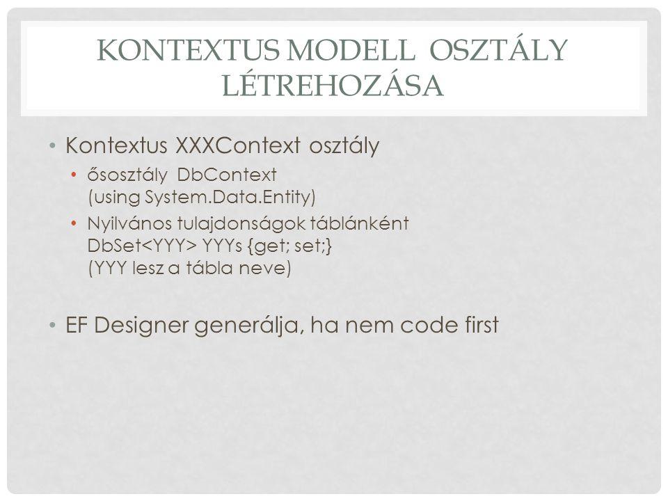 Kontextus modell osztály létrehozása