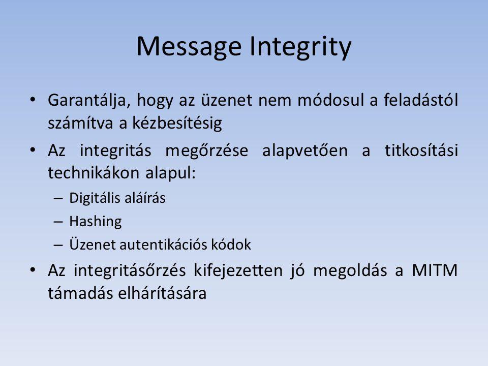 Message Integrity Garantálja, hogy az üzenet nem módosul a feladástól számítva a kézbesítésig.