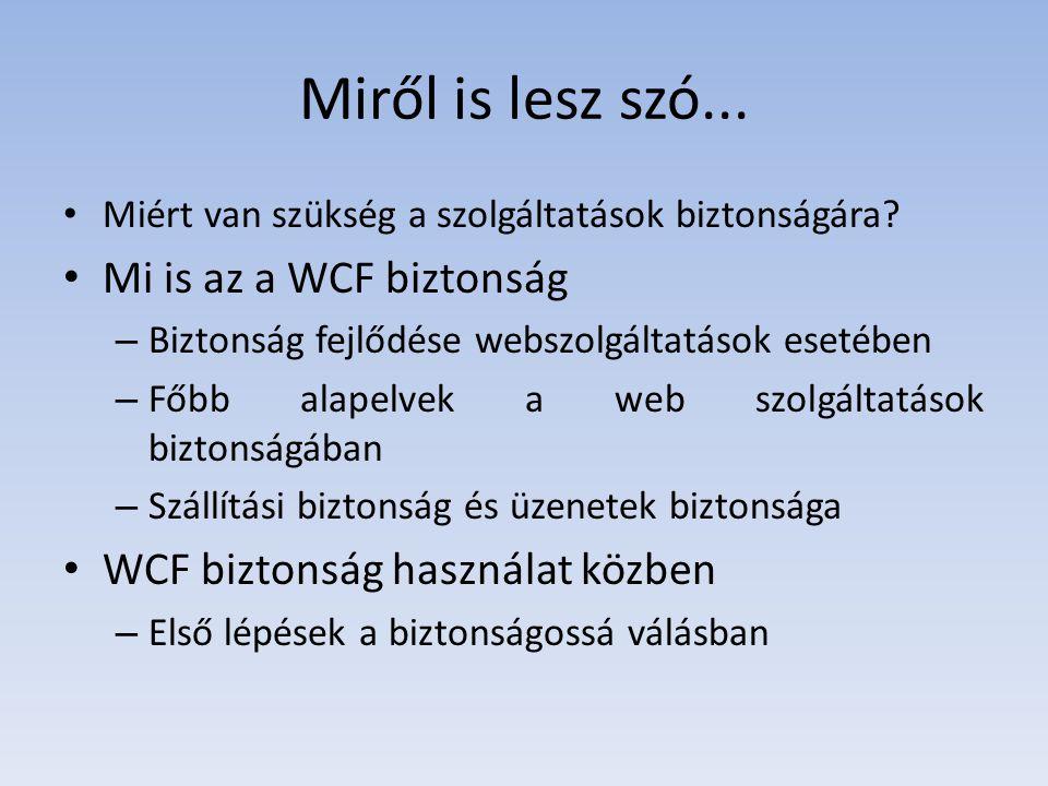 Miről is lesz szó... Mi is az a WCF biztonság