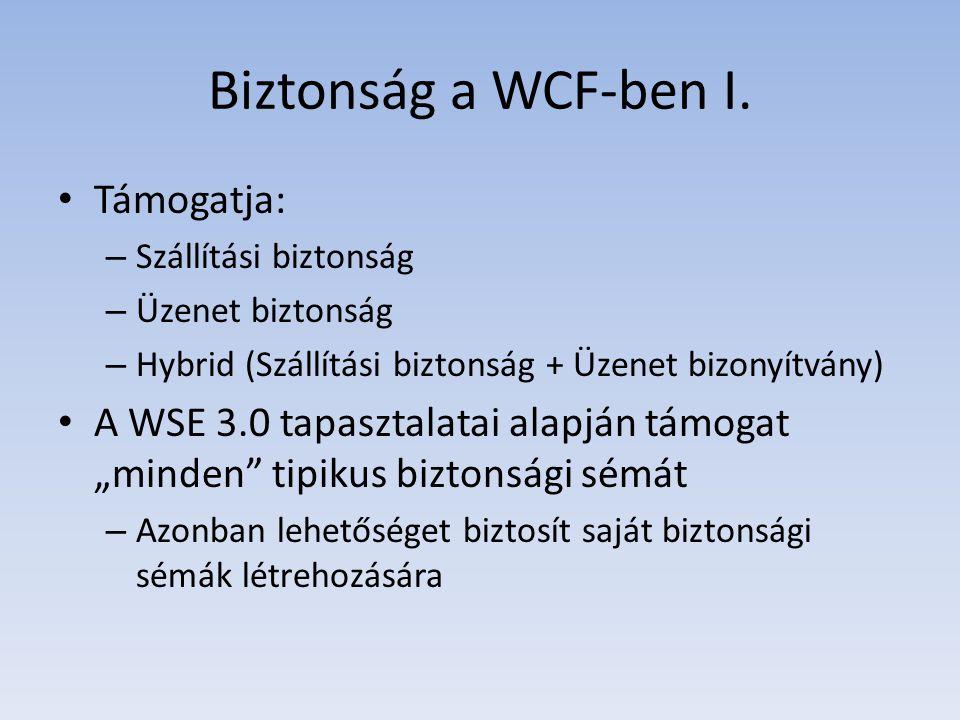 Biztonság a WCF-ben I. Támogatja: