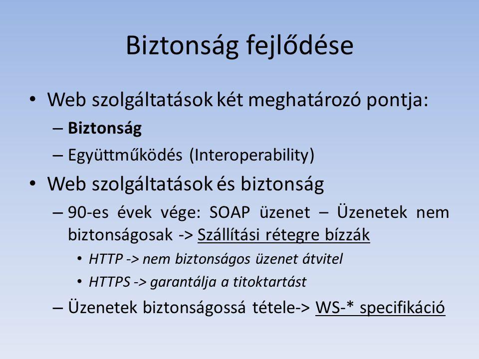 Biztonság fejlődése Web szolgáltatások két meghatározó pontja:
