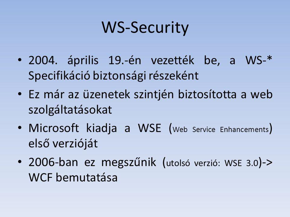 WS-Security 2004. április 19.-én vezették be, a WS-* Specifikáció biztonsági részeként.