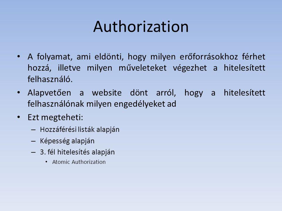 Authorization A folyamat, ami eldönti, hogy milyen erőforrásokhoz férhet hozzá, illetve milyen műveleteket végezhet a hitelesített felhasználó.