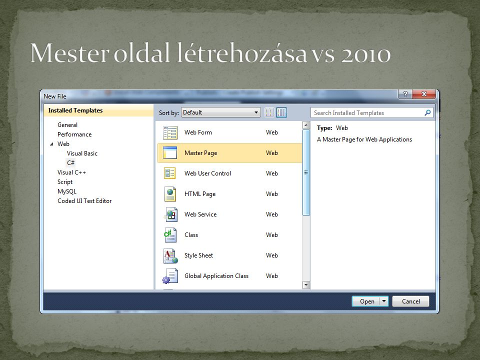 Mester oldal létrehozása vs 2010