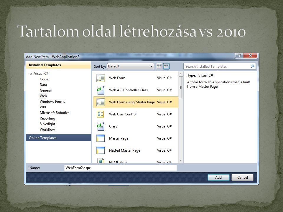 Tartalom oldal létrehozása vs 2010