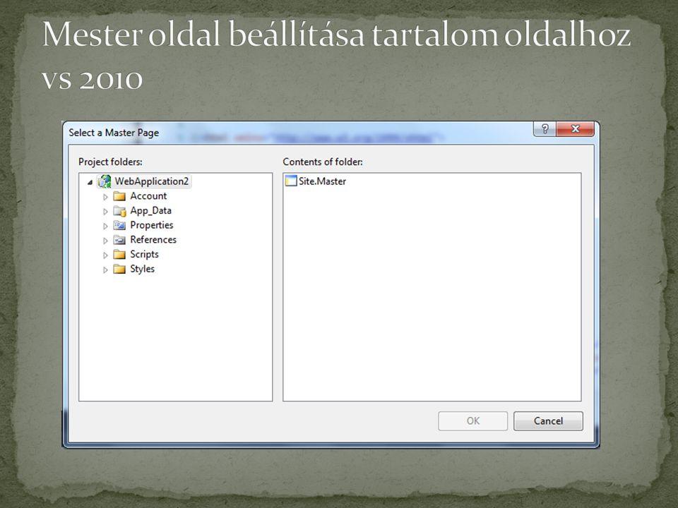 Mester oldal beállítása tartalom oldalhoz vs 2010