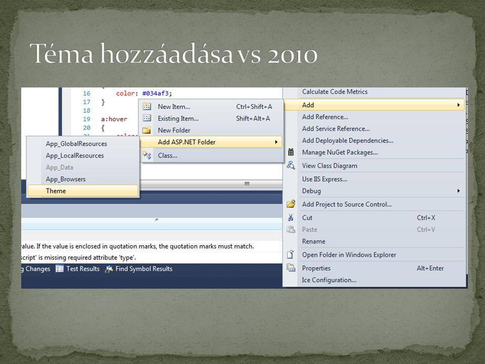 Téma hozzáadása vs 2010