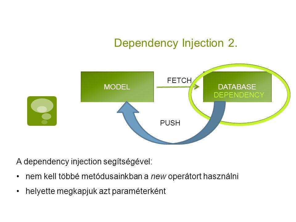 Dependency Injection 2. A dependency injection segítségével: