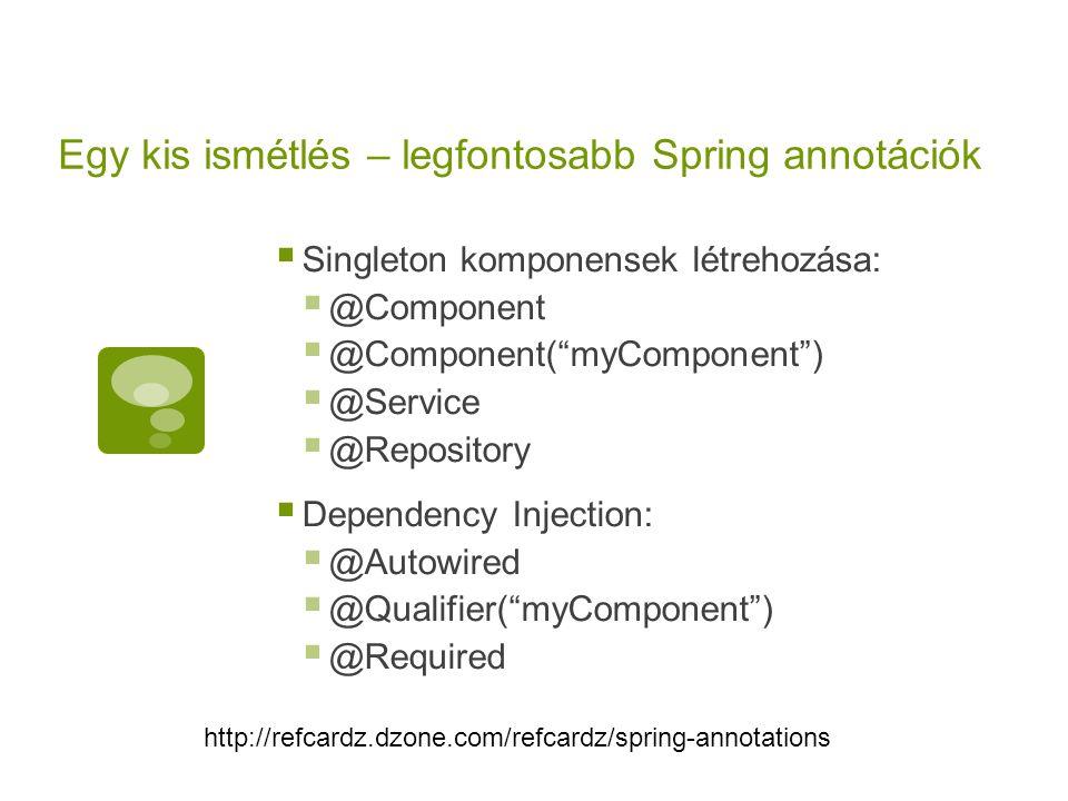 Egy kis ismétlés – legfontosabb Spring annotációk