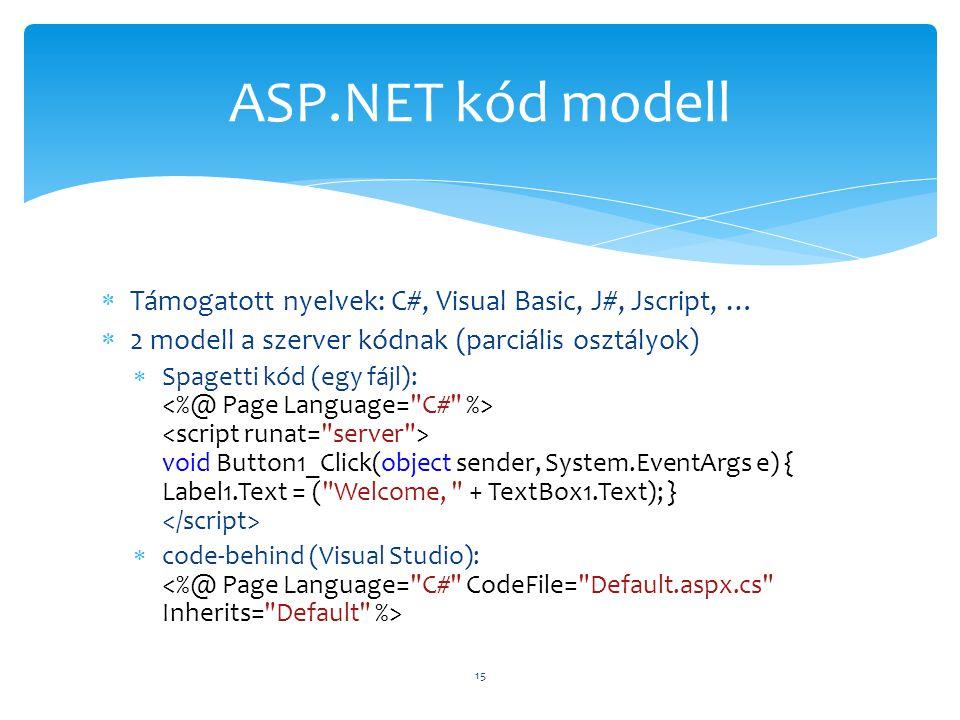 ASP.NET kód modell Támogatott nyelvek: C#, Visual Basic, J#, Jscript, … 2 modell a szerver kódnak (parciális osztályok)