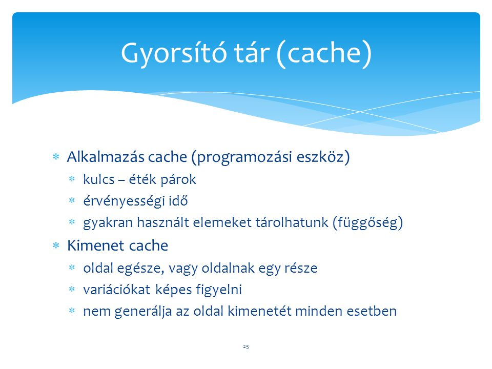 Gyorsító tár (cache) Alkalmazás cache (programozási eszköz)
