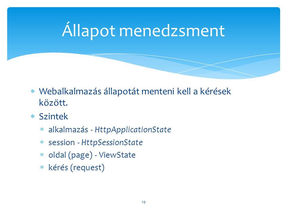 Állapot menedzsment Webalkalmazás állapotát menteni kell a kérések között. Szintek. alkalmazás - HttpApplicationState.