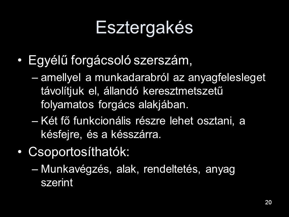 Esztergakés Egyélű forgácsoló szerszám, Csoportosíthatók: