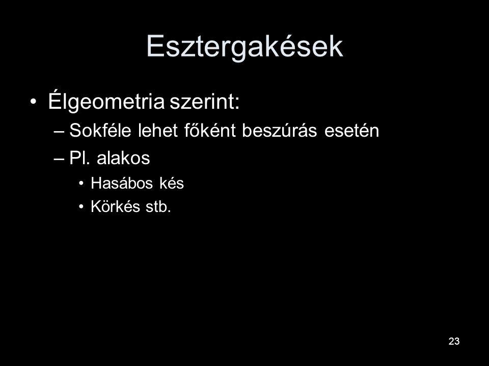 Esztergakések Élgeometria szerint: