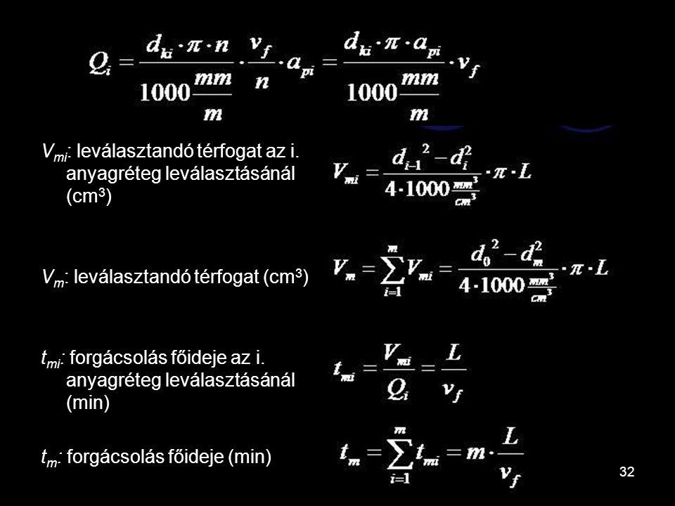 Vmi: leválasztandó térfogat az i. anyagréteg leválasztásánál (cm3)