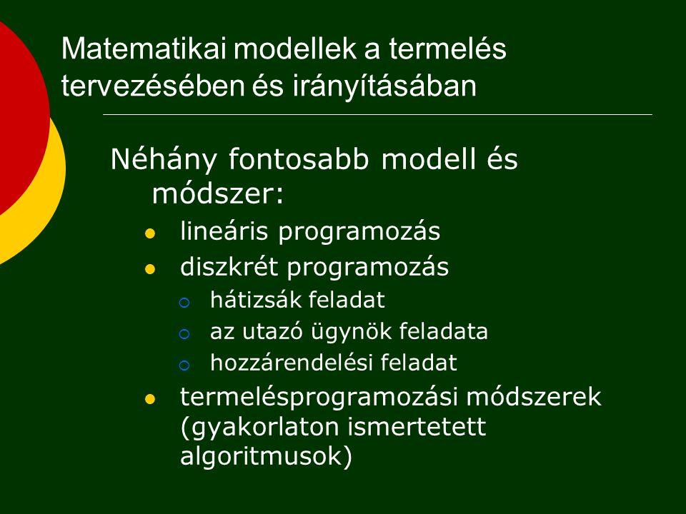 Matematikai modellek a termelés tervezésében és irányításában