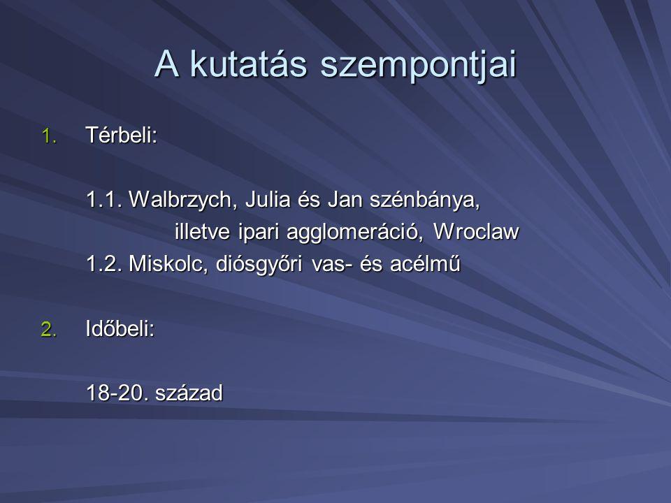 A kutatás szempontjai Térbeli: 1.1. Walbrzych, Julia és Jan szénbánya,