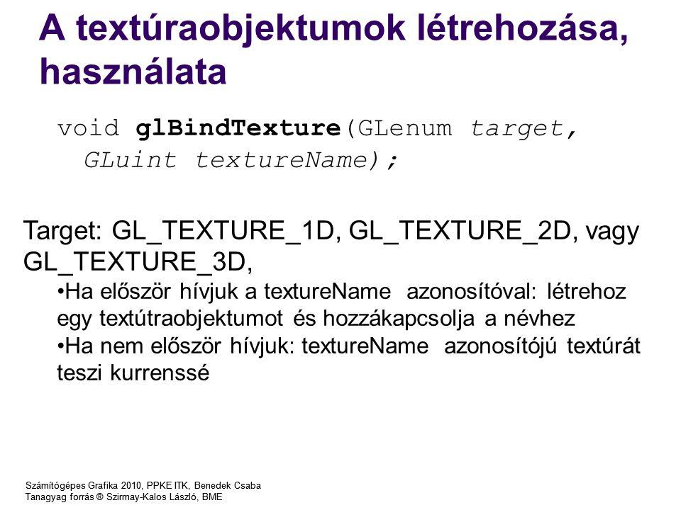 A textúraobjektumok létrehozása, használata