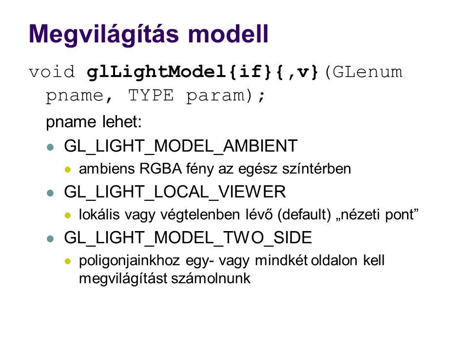 Megvilágítás modell void glLightModel{if}{,v}(GLenum pname, TYPE param); pname lehet: GL_LIGHT_MODEL_AMBIENT.