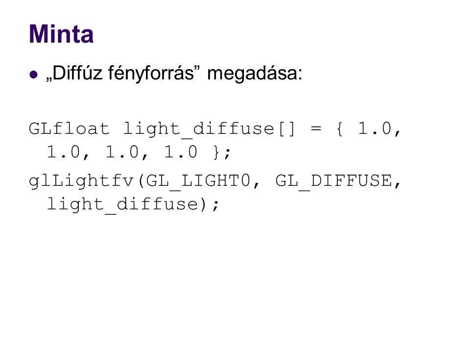 """Minta """"Diffúz fényforrás megadása:"""