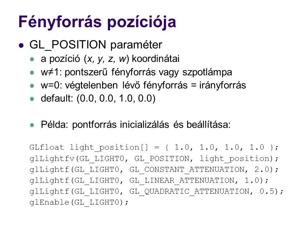 Fényforrás pozíciója GL_POSITION paraméter