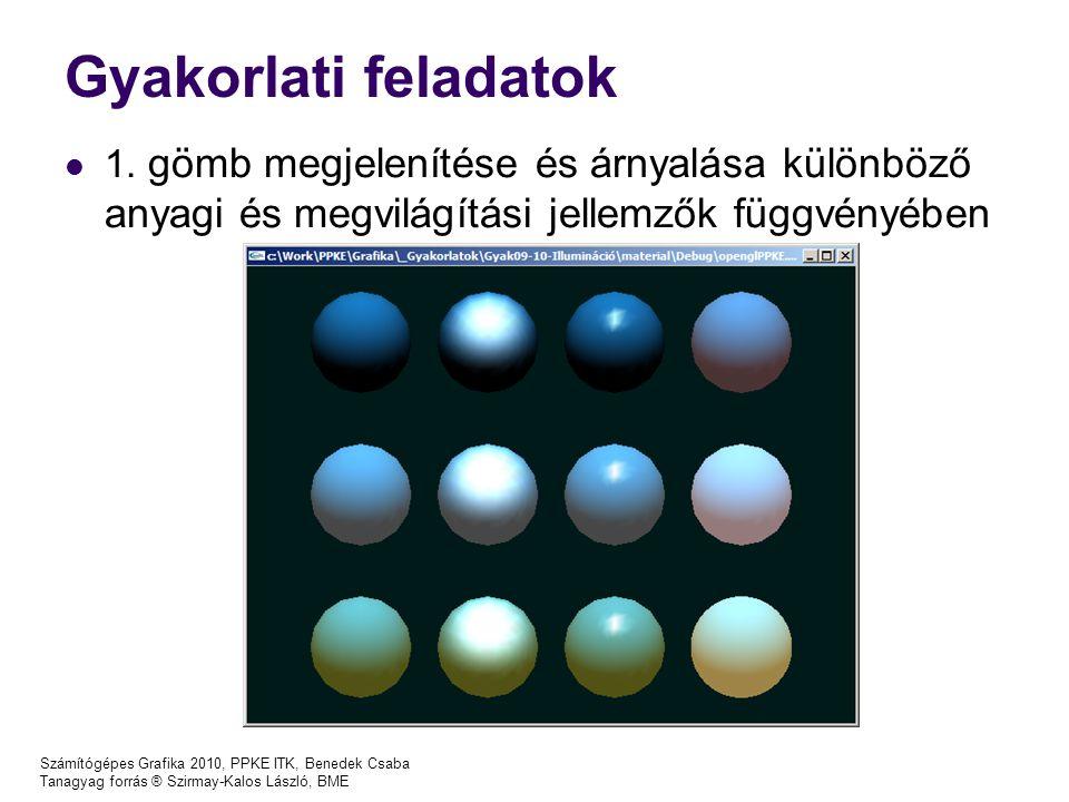 Gyakorlati feladatok 1. gömb megjelenítése és árnyalása különböző anyagi és megvilágítási jellemzők függvényében.