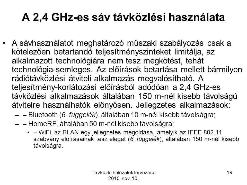 A 2,4 GHz-es sáv távközlési használata