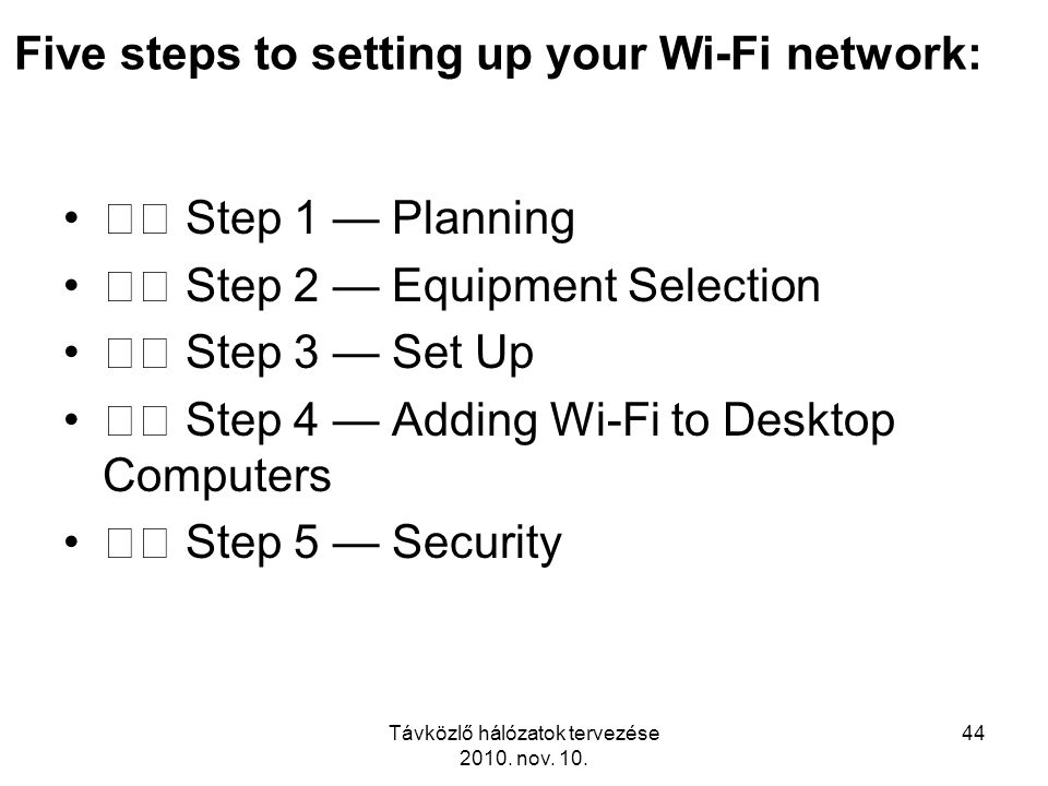 Five steps to setting up your Wi-Fi network: