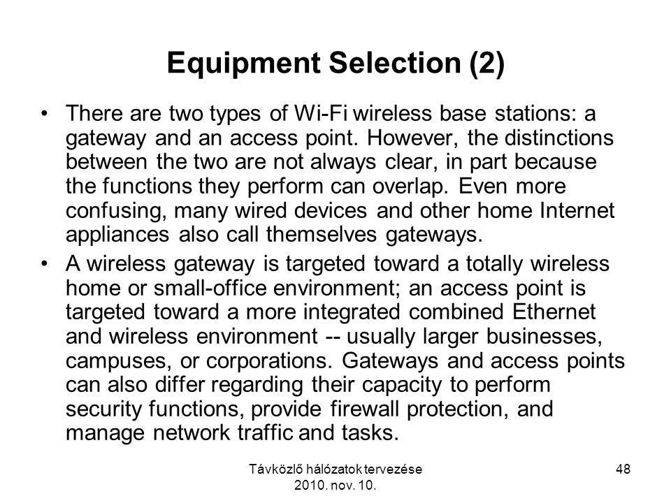 Equipment Selection (2)