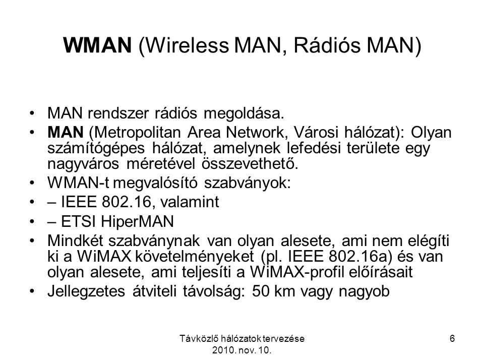 WMAN (Wireless MAN, Rádiós MAN)
