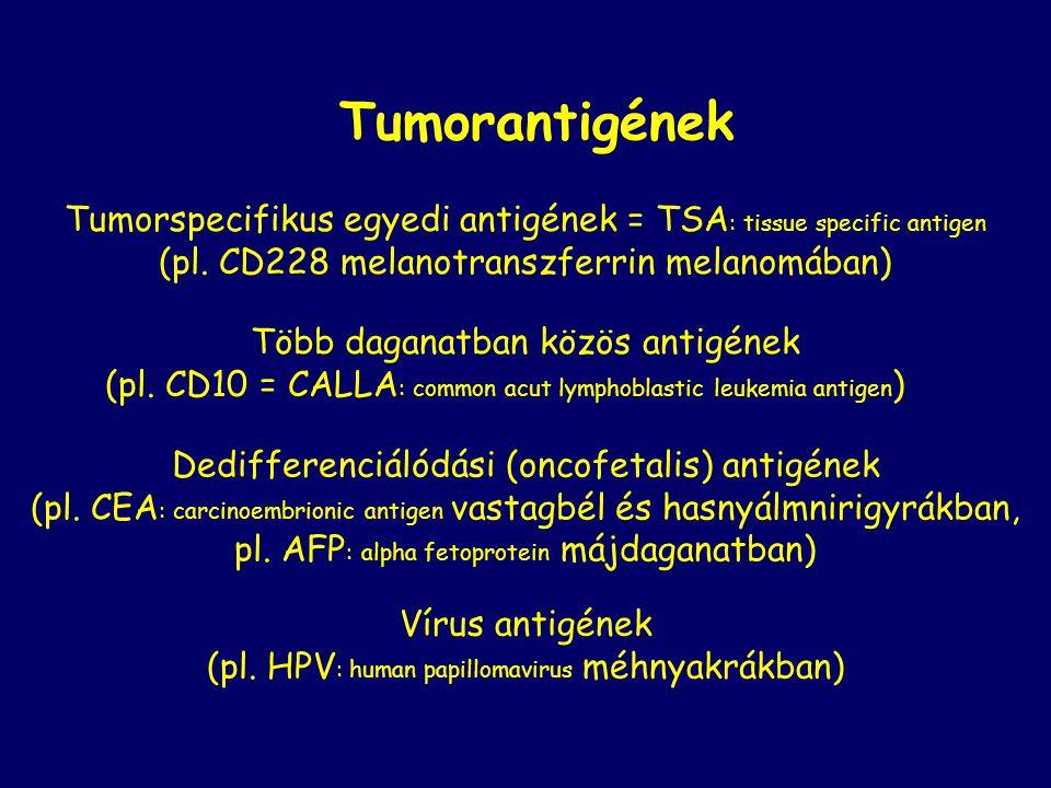 Tumorantigének Tumorspecifikus egyedi antigének = TSA: tissue specific antigen. (pl. CD228 melanotranszferrin melanomában)