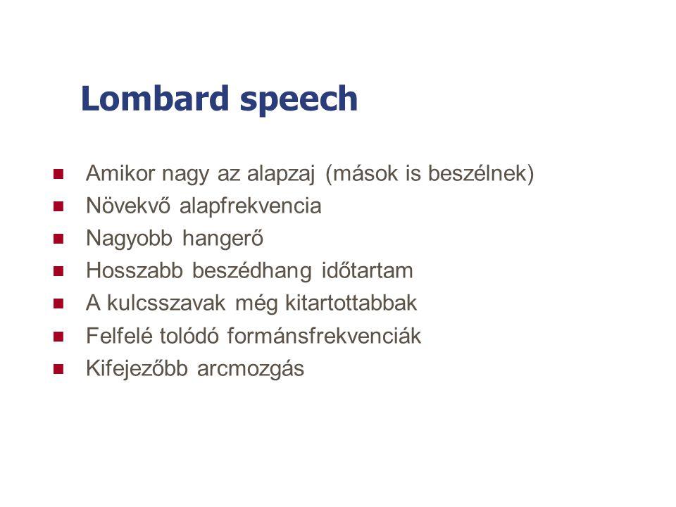 Lombard speech Amikor nagy az alapzaj (mások is beszélnek)