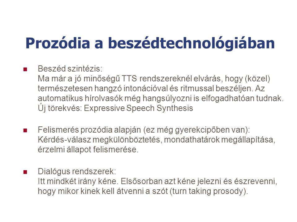 Prozódia a beszédtechnológiában