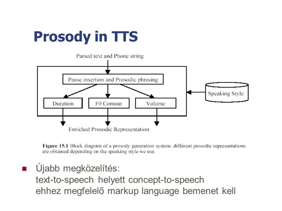 Prosody in TTS Újabb megközelítés: text-to-speech helyett concept-to-speech ehhez megfelelő markup language bemenet kell.