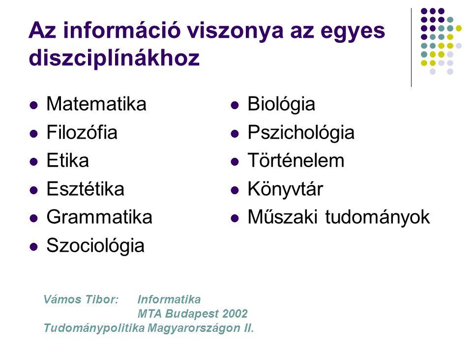 Az információ viszonya az egyes diszciplínákhoz