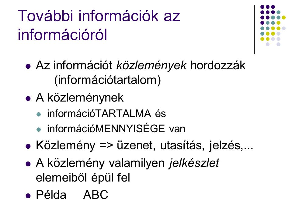További információk az információról