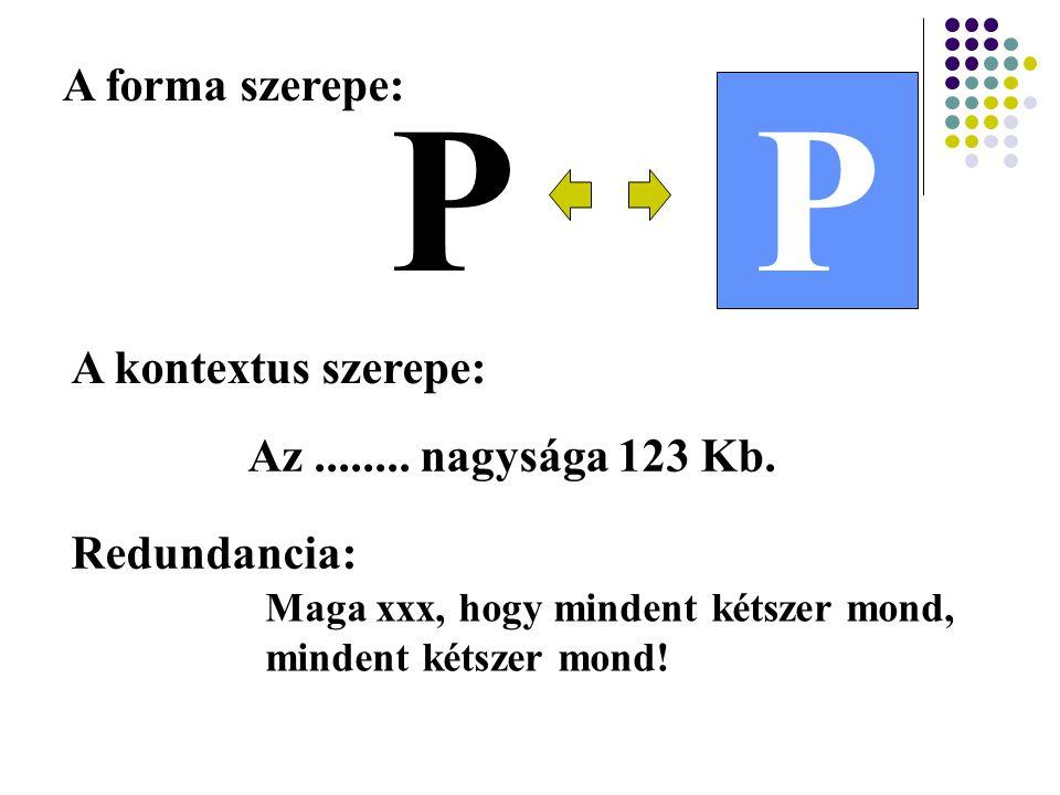 P P A forma szerepe: A kontextus szerepe: Az ........ nagysága 123 Kb.