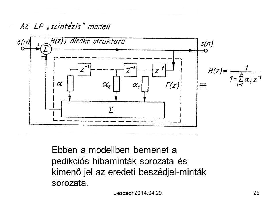 Ebben a modellben bemenet a pedikciós hibaminták sorozata és kimenő jel az eredeti beszédjel-minták sorozata.