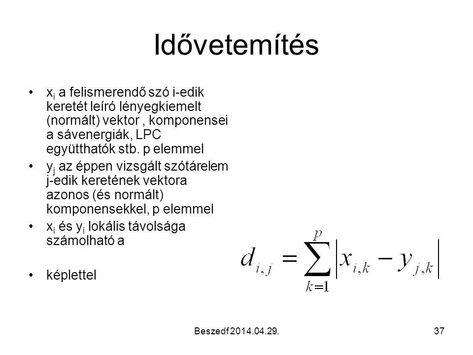 Idővetemítés xi a felismerendő szó i-edik keretét leíró lényegkiemelt (normált) vektor , komponensei a sávenergiák, LPC együtthatók stb. p elemmel.