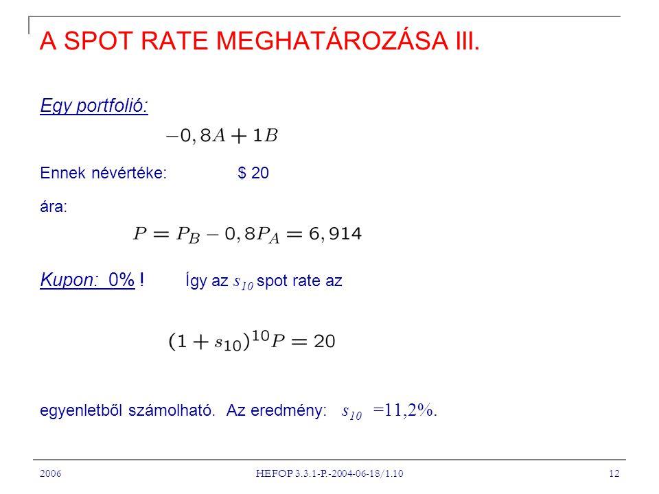 A SPOT RATE MEGHATÁROZÁSA III.